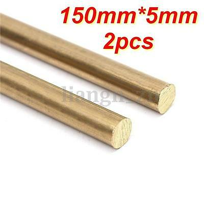 2X 150MM x 5MM Rod Bar Brass Hardware Solid Round Blank Scales Blade Handle
