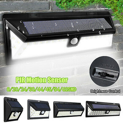 Waterproof 8-64 LED PIR Motion Sensor Solar Power Wall Lamp Security Light