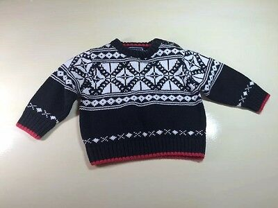 Kitestrings Baby Boy 12 Month Nordic Sweater 100% Cotton Black Christmas Winter