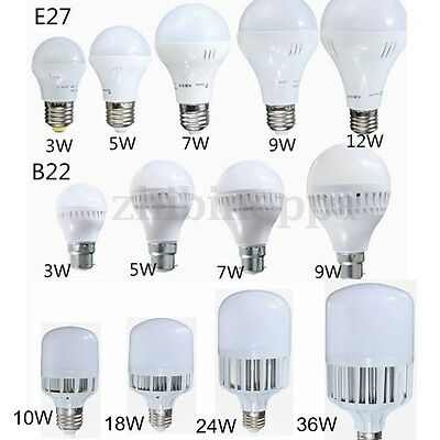 9W 12W 15W 20W 25W 30W 36W E27 B22 LED Globe Bulb Light SMD Lamp Cool/Warm White