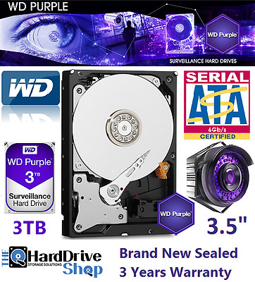 "Western Digital WD Purple 3TB Surveillance 3.5"" SATA Internal Hard Drive 5400RPM"