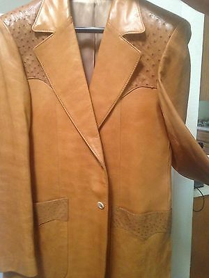 Mens Vintage Scully Light Brown Blazer Jacket Leather with Ostrich Trim Size 40