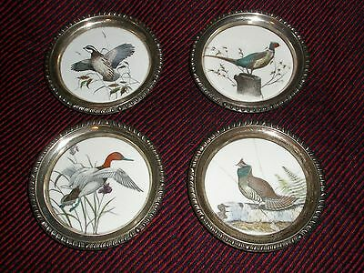 Frank Whiting Sterling Silver & Porcelain Bird Coasters 4 Dishes Dennis Puleston