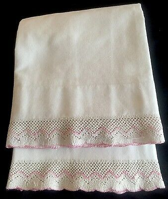 Pretty Set Of Vintage Pillowcases With Pink And White Crocheted Edge