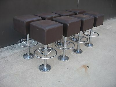 BROWN SQUARE PADDED CAFE / BAR STOOLS x 8,  CHROME BASE