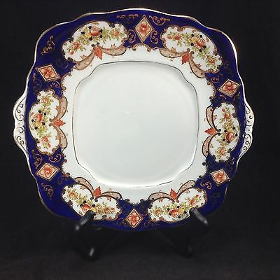 Royal Albert Heirloom Cobalt Blue Roses Imari Style Cake Plate Square Vintage