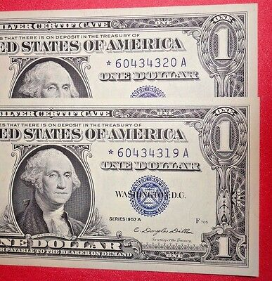 2 Consecutive 1957A $1 Star Silver Certificate  *solid Au*