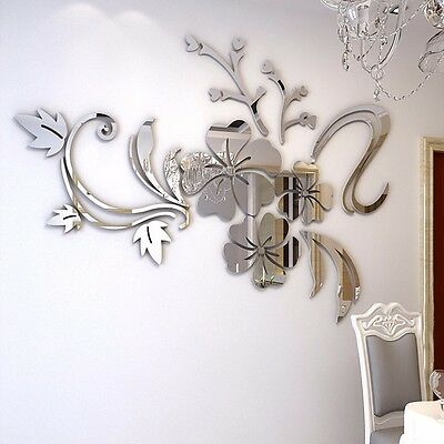 Flower Removable Mirror Decal Art Mural Wall Stickers Home Decor DIY Room Decor