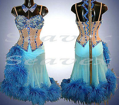 Feather Women Ballroom Salsa Rumba Cha Dance Dress US 12 UK 14 Flesh Two Blue