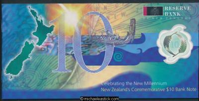New Zealand 2000 Millennium $10 Polymer Banknote in Folder