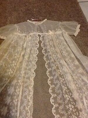 Antique White Scalloped Edged Lace  Christening Jacket