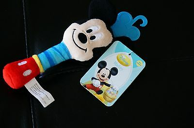 "BABY Plush Disney MICKEY MOUSE Hand Stick RATTLE Toy 6.5"" Plastic Mirror Soft"