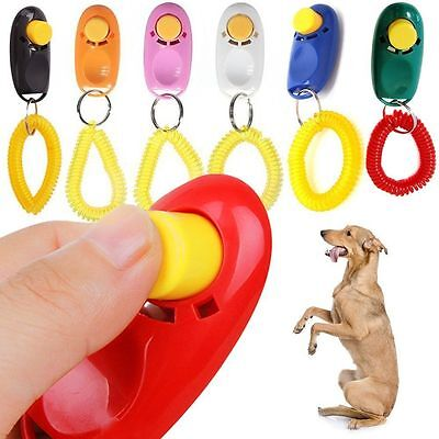 Puppy Dog Cat Pet Click Clicker Button Training Obedience Aid Wrist Strap Hot