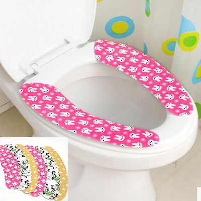 2pc Bathroom Toilet Seat Closestool Washable Soft Warmer Mat Cover Pad Cushion v