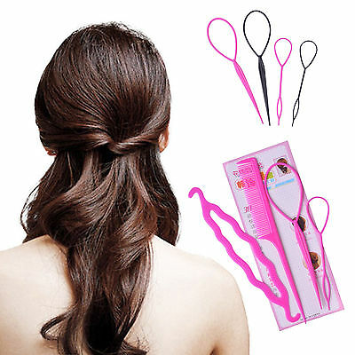 4 Hair Clip Bun Topsy Tail Braid Ponytail Styling Tool Maker