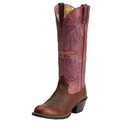 ARIAT - Women's Round Up Buckaroo - Brown Oiled / Watermelon ( 10014176 ) - 7B