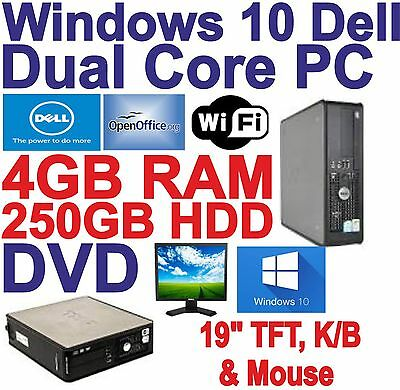 Windows 10 Dell Dual Core 2x3.00GHz  Desktop PC Computers - 4GB RAM - 250GB HDD