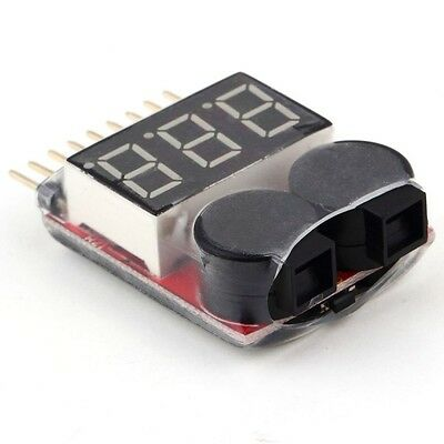 1-8S Lipo/Li-ion/Fe Battery Voltage 2IN1 Tester Low Voltage Buzzer Alarm For RC