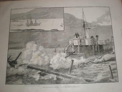 HMS Polyphemus and the Evolutionary Squadron bantry Bay 1885 old print