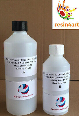 Crystal Clear, High Gloss, Low Viscosity UV Resistant, Epoxy Resin: 500g