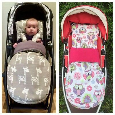 Universal Pram Liner, Strap Covers And Zip On Footmuff