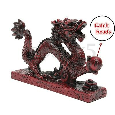 Resin RED Chinese Feng Shui Dragon Figurine Statue for Luck & Success 6'' Loong