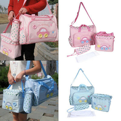 4PCS Maternity Mummy Changing Bag Baby Nappy Diaper Shoulder Handbag Waterproof