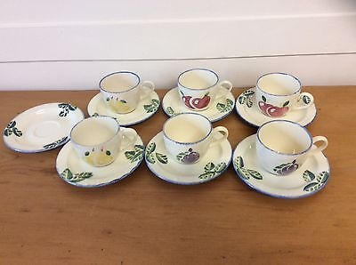 Vintage Hand Painted Poole Pottery Dorset Fruits Tea Cups And Saucers