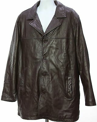 Men's EXCELLED Brown Leather Bomber Coat Size 3XL
