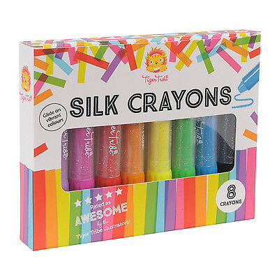 NEW Tiger Tribe Silk Crayons 8pk - Kids 8 Pack Twist Up Colouring Arts Crafts