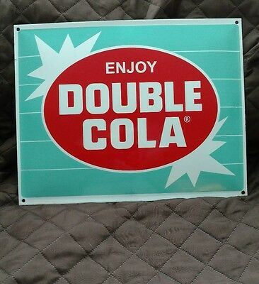 DOUBLE COLA porcelain sign soda fountain display vintage advertising rc coke