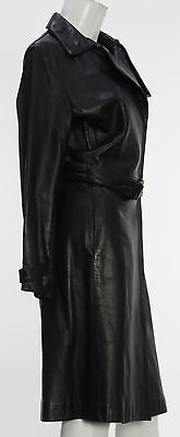 Women's KENNETH COLE Black Leather Trench Coat Size M