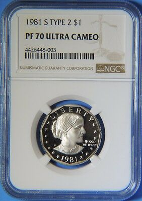 1981 S Type 2 Proof Susan B Anthony Dollar $1 NGC PF70 Ultra Cameo
