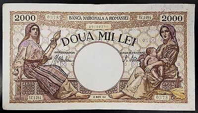 1943 Doua Mii Lei (2000) paper note from Romania! No pinholes!