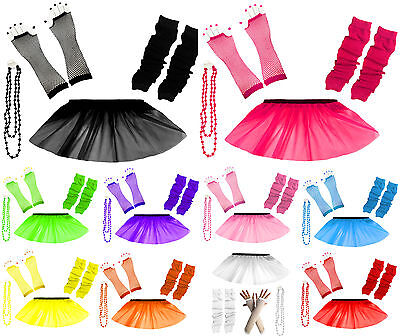 Child Kids Neon UV Tutu Skirt Gloves Leg Warmers Fancy Dress Party Costume Set