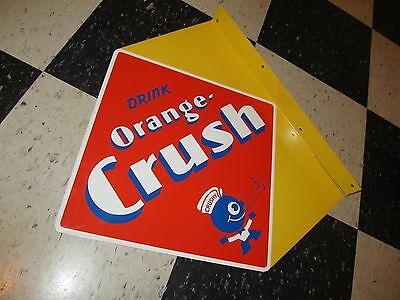 "Vintage Style Orange Crush Soda Double Sided ""Crushy"" Sign"