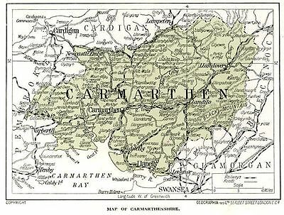 1923 Wales map: old Carmarthen ready-mounted antique print SUPERB
