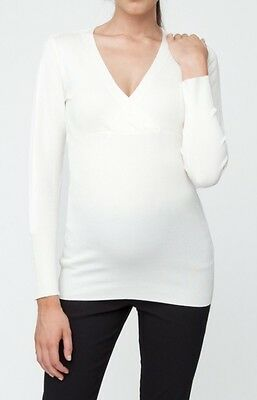 Ripe Maternity - Fitted Cross Over Knit Jumper top - White Size M