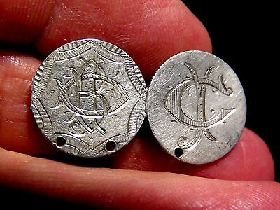High Grade Two Sided Love Tokens Etched Of Two Seated Liberty Dimes  See Photos
