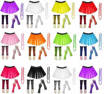 Kids Neon UV Tutu Skirt Gloves Striped Leg Warmers Fancy Dress Party Costume Set