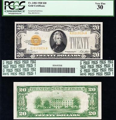 AWESOME Bold & Crisp Choice VF++ 1928 $20 GOLD CERTIFICATE! PCGS 30! A39169934A