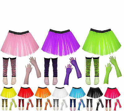 Kids Party Costume Fancy Dress Set Neon UV Tutu Skirt Gloves Striped Leg Warmers