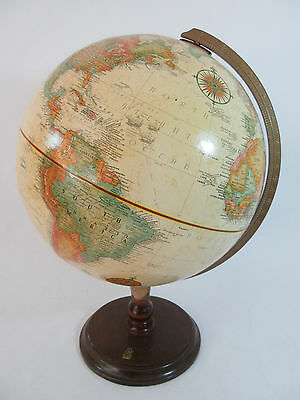 Vintage Replogle 12 inch Raised Relief Globe World Classic Series Wood Base