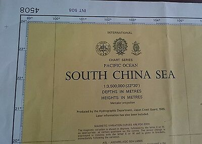 4508 South China Sea Pacific Nautical Chart Map Navigation Rare Collectables