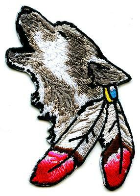 Wolf mit Feder Aufnäher Patch  Indianer Canis Lupus Feather