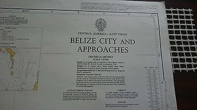 522 Belize City Central America Nautical Chart Map Navigation Rare Collectables