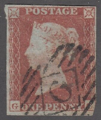 """Great Britain SG #8  1d red brown Imperforate """"Letters in lower corners""""  F"""