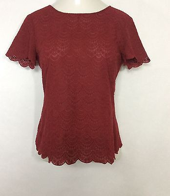 Womens LOFT Red Lace Blouse / Tie Back Short Sleeve Shirt Size S