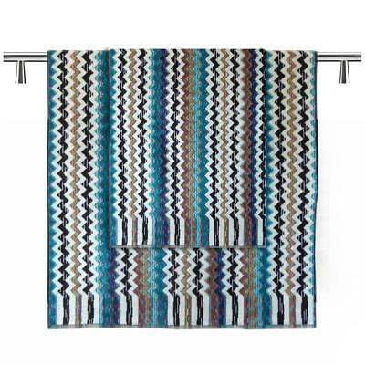Missoni Home Towels  1 hand towel + 1 bath towel PAUL 170 Turquoise blue black