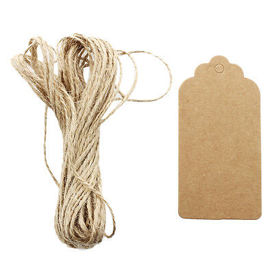 50pcs Fun Kraft Paper Tags Brown Favour Gift Label Party +Strings C6D1